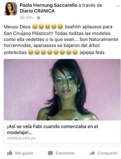 Fabi Martínez respondió a las burlas de la Miss Paraguay 2010