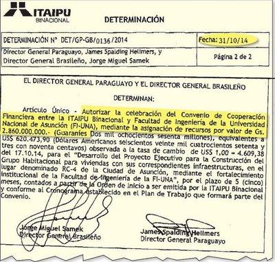 Itaipú entregó sin licitación G. 2.860 millones de fondos sociales a Fiuna