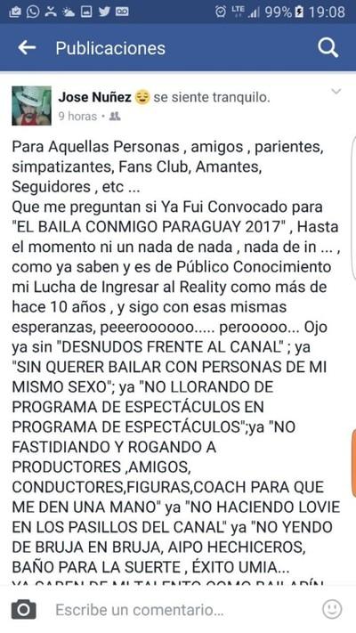 El Actor José Núñez Sigue Con Las Esperanzas De Ingresar A Baila Conmigo Paraguay