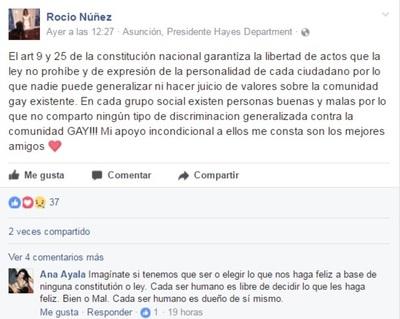 Así La Ex Modelo Rocío Núñez Se Manifestó A Favor De La Comunidad Gay