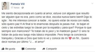 """Pamela Vill Profundamente Desilusionada """"si Te Enamoras La Pasas Mal"""""""
