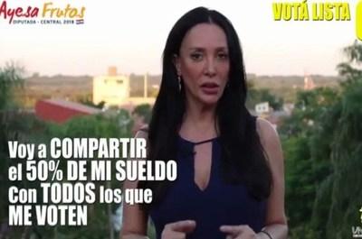 """Ayesa Frutos prometió """"sortear"""" parte de su sueldo y desató controversia"""