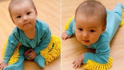 """Inventan ropitas de bebé """"limpiapiso"""""""