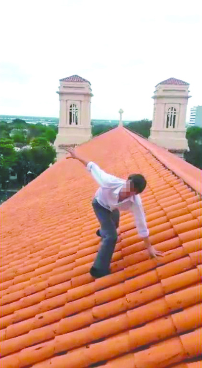 Alumno del San José corrió sobre el techo de la iglesia
