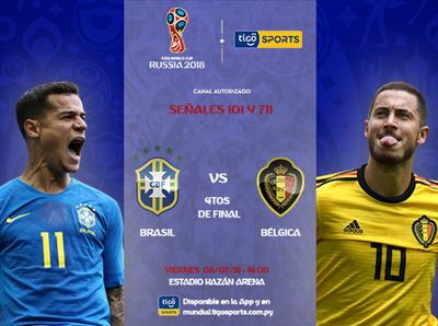 Brasil versus Bélgica, por Tigo Sports +