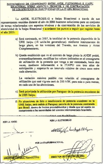 Brasil pretende desconocer acuerdo favorable a Paraguay en la Itaipú
