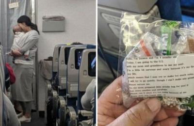 Mamá se gana el corazón de los pasajeros de un avión al repartir 200 bolsas con notas y regalos