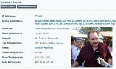 Gobernador regala licitación de G. 15.279 millones a la empresa de Lucho Zacarías