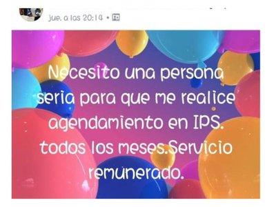 Doña pide gente que le saque turno en el  IPS