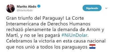 Presidente celebra fallo de Corte Interamericana