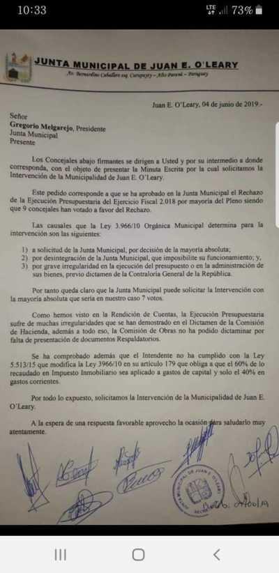 Concejales aprueban intervención de la administración del liberal Francisco Amarilla