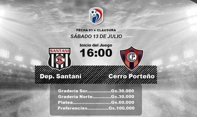 Entradas para Santaní-Cerro Porteño están en venta