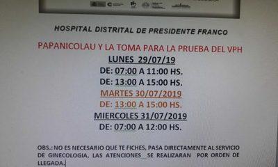 Realizan tomas de muestras para PAP y VPH en Franco