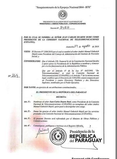 Nombran a Juan Carlos Duarte Duré como nuevo presidente de CONATEL
