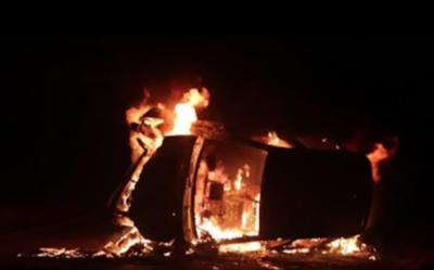 Vehículo se volcó y luego se incendió en Areguá