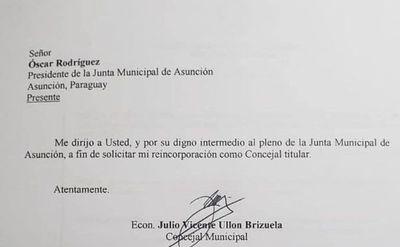 Ullón solicita su reincorporación a la Junta de Asunción