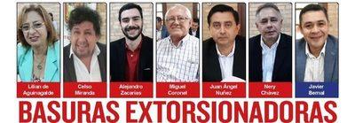 BASURAS EXTORSIONADORAS  Quieren seguir robando los impuestos  que paga el pueblo en Ciudad del Este