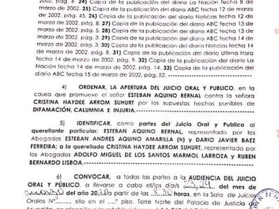 Elevan a juicio oral y público la querella contra Cristina Arrom