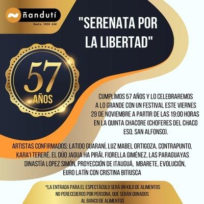 """Radio Ñandutí celebra sus 57 años con una """"Serenata por la libertad"""""""