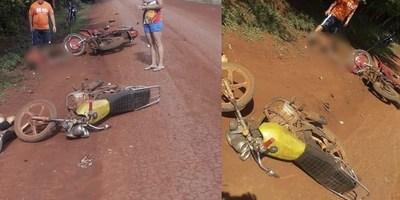 CHOQUE ENTRE MOTOCICLETAS DEJA 7 HERIDOS EN PIRAPEY KM 58