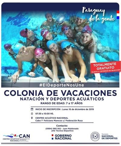Habilitarán inscripciones para Colonia de Vacaciones de Natación y Deportes Acuáticos