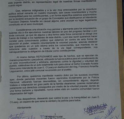 """Comerciales, empresarios e intendentes de los distintos distritos no aceptan a intendente «mau"""" de Juan E. O´leary"""