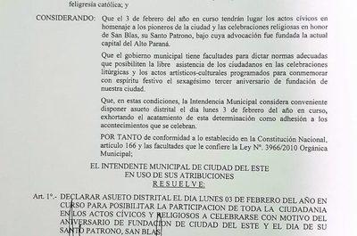 La comuna de CDE declara asueto distrital para el 3 de febrero