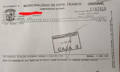 Presidente Franco: Ligó multa de G. 1.265.000 por quemar basura