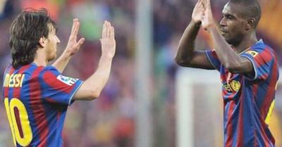 Lío le trozó a Abidal y sarambi en el Barça