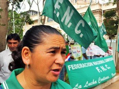 Integrantes de Federación Nacional Campesina no tienen pensado abandonar la plaza.