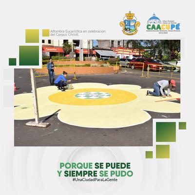 Instituciones participaron de los trabajos de la Alfombra Eucarística en Caacupé