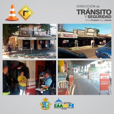 Dirección de Tránsito y Seguridad relizó despeje de veredas en Caacupé