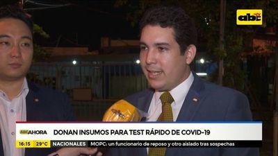 Sector privado dona insumos para test rápido de covid-19