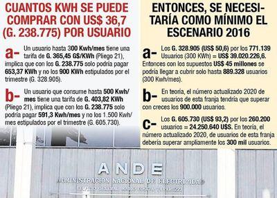 La ANDE necesitaría más de US$ 60 millones para otorgar exoneraciones