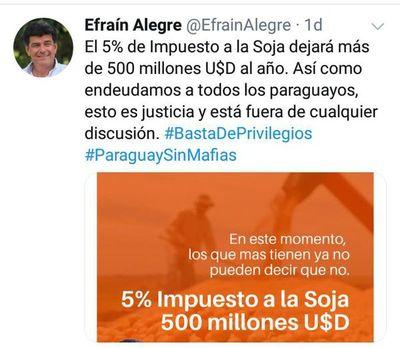 Legisladores tildan a Alegre de mentiroso al proponer elevar el impuesto a la soja