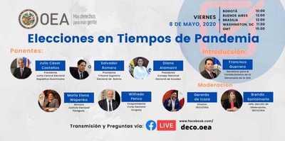 """OEA organiza panel """"Elecciones en tiempos de pandemia"""""""