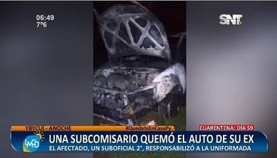 Subcomisaria quemó auto de su expareja en Ybycuí, denuncian