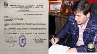 Aprueban ejecución presupuestaria del intendente Michell Flores