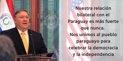 Mensaje de Mike Pompeo: EE.UU celebra la democracia e independencia del Paraguay