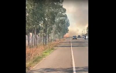 Incendio de gran magnitud al costado de la ruta Luque-San Ber