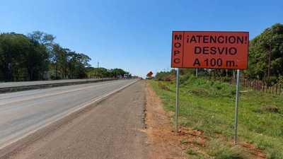 Habilitan desvíos para el avance de las obras de duplicación de la Ruta PY 02