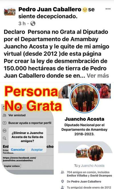 Declaran Persona no Grata en Facebook al diputado colorado Juancho Acosta