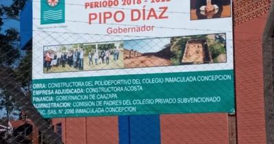 Gobernador de Caazapá pagó G. 1.600 millones por polideportivo