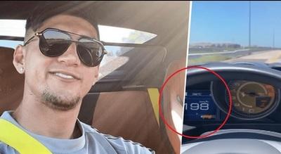 Futbolista presumió conducir a 200 km/h y fue denunciado
