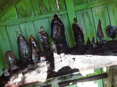 Quemaron imágenes de santos en la cima del Cerro Corá – Prensa 5
