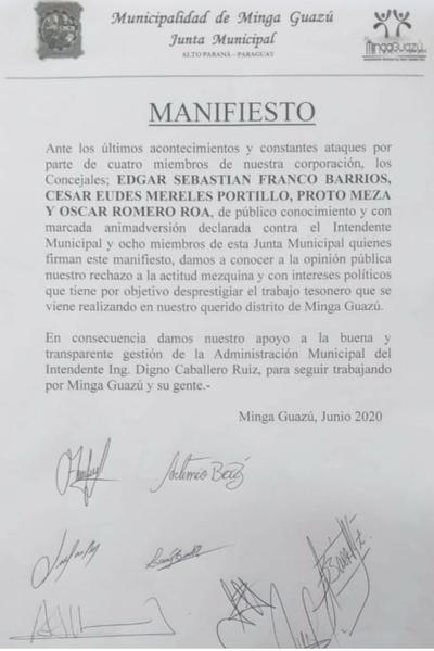 """Concejales serviles a Digno Caballero emiten """"manifiesto"""" de repudio contra sus colegas"""