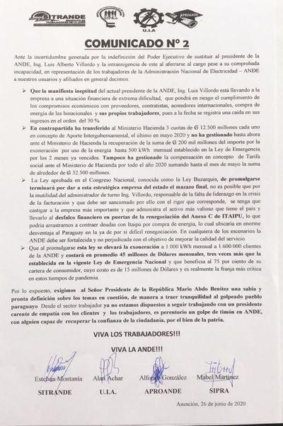 Sindicatos califican de inepto al presidente de la ANDE e insisten con su destitución