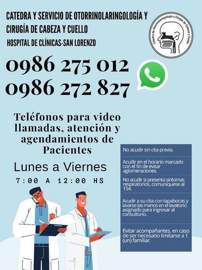 Servicio de Otorrinolaringología habilita atenciones por videollamadas