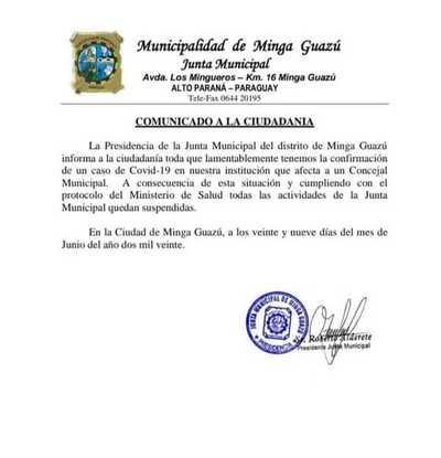 Edil de la JM de Minga Guazú dio positivo al Covid-19 y suspenden actividades en el legislativo