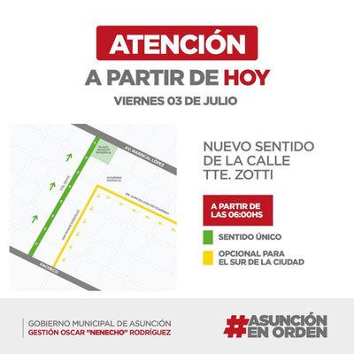 A partir de hoy nuevo sentido de la calle Tte. Zotti en Asunción